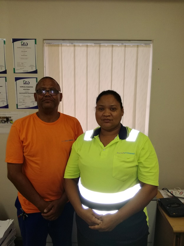 Ensuring the safety of each and every employee on site is always top of mind for RPC Astrapak Plastform SHE Officer Arlene Manuel. She is accompanied by Safety Representative Clyde Williams as part of her team who achieved full compliance on their ASIB audit recently.
