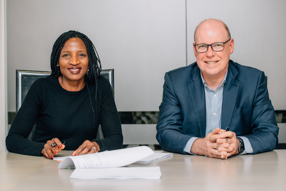 WDBIH Chief Executive Faith Khanyile with RPC Astrapak Chief Executive Robin Moore at the WDBIH offices in Johannesburg.