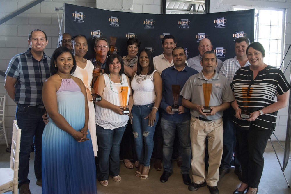 Award winners gather for a photo opportunity at the second edition of the RPC Astrapak Quality Awards, held in Kloof on 25 October 2018.