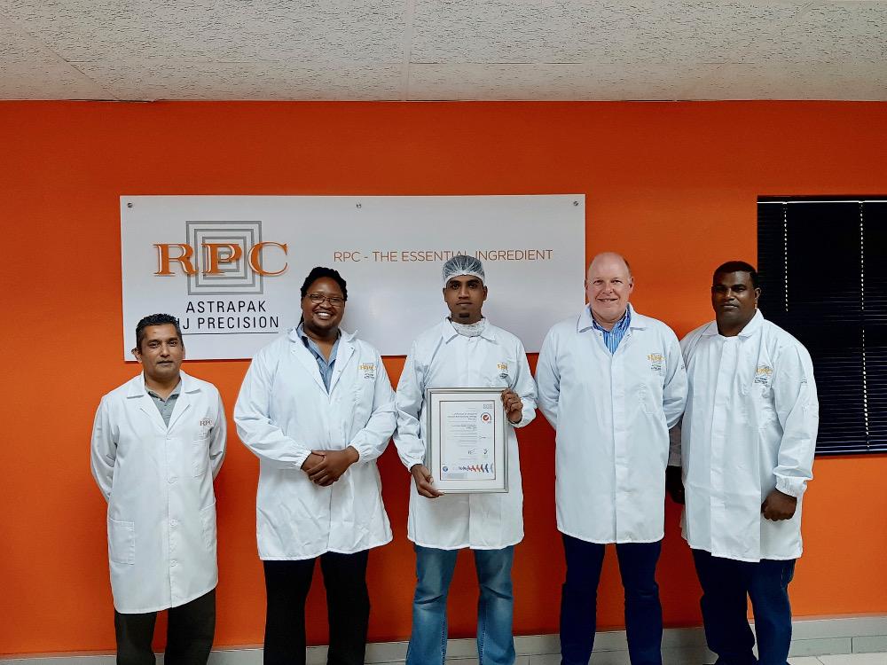The Team at JJ Precision from left: Nelash Harinarain (Quality Assurance Manager); Zakhele Myeza (General Manager); Ashton Ranjith (Food Safety Coordinator); Robin Moore (RPC Astrapak CEO); Sagren Naicker (Lab Supervisor).