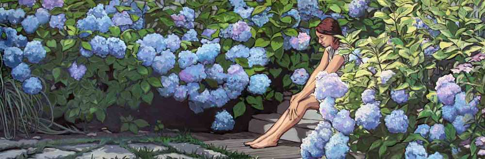 Girl in Garden with the Blue Hydrangeas
