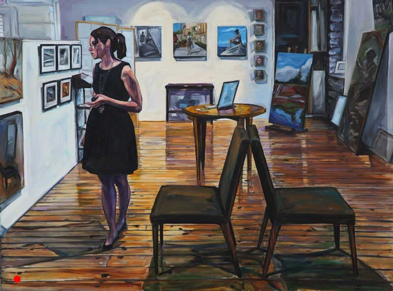 Sold. Little Black Dress, Two Chairs in the Artist's Studio