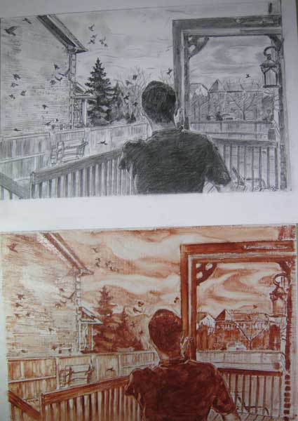 Original drawing & Underpainting Copyright Christine Montague 2009