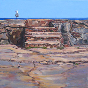 Seagull by the Steps. Gairloch Park, Oakville Painting copyright Christine Montague
