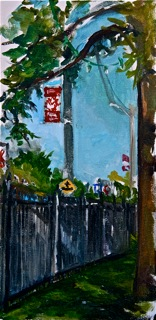 Plein air painting by Christine Montague - Lakeshore Road from Starch Building
