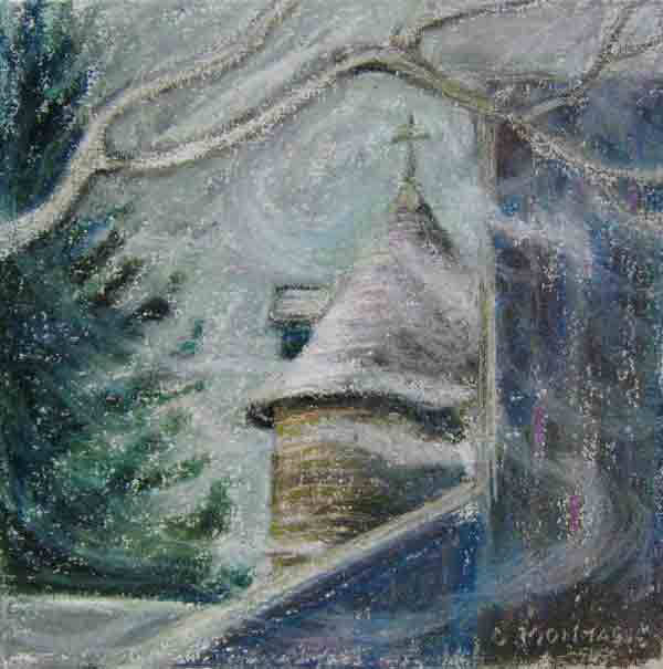 Swirling Snow at the Scottsdale Farm Silo. Plein air painting copyright Christine Montague
