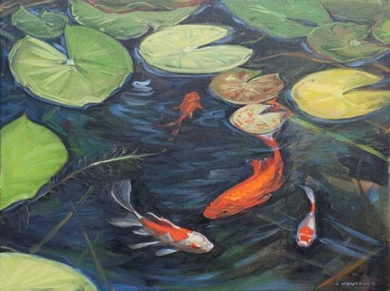 Riverwood Park Koi Pond oil painting by Christine Montague