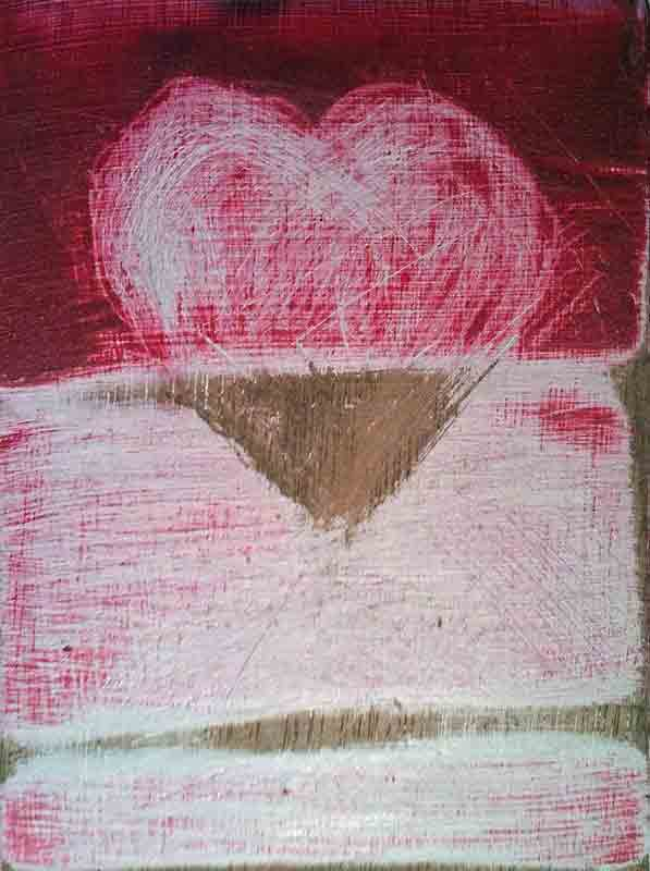 Heart Rising. Cold wax on wood copyright Christine Montague