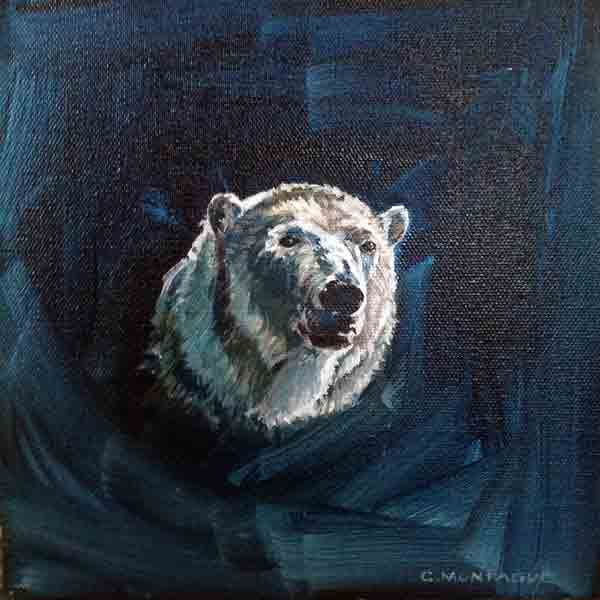 Polar Bear 6 oil painting portrait. Copyright Christine Montague