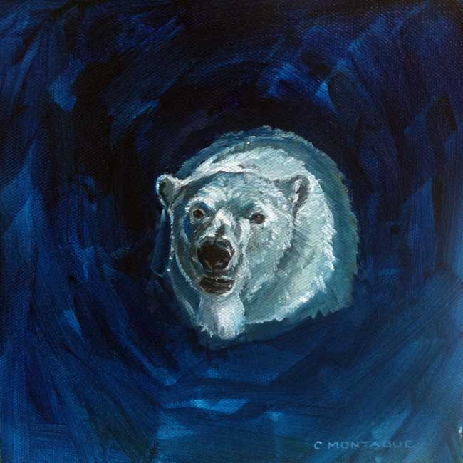 Polar bear Portrait painting 7 copyright Christine Montague