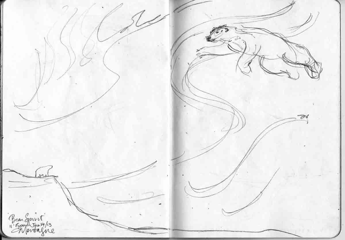 Polar bear Spirit in the Sky. Illustration from CRAM, The Sketchbook Project 2013 Copyright Christine Montague