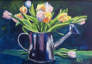 Christine Montague Watering Can with Tulips