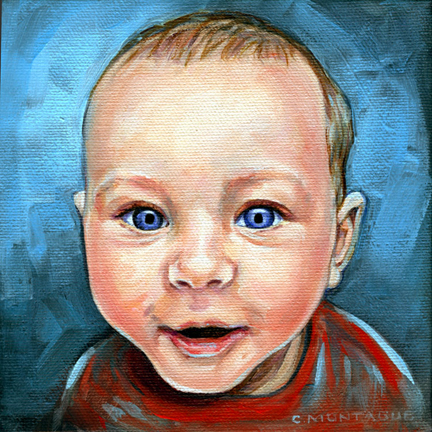 "Baby boy portrait oil painting by Christine Montague. 6"" x 6"" on canvas."
