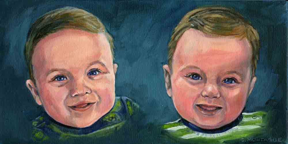 "Portrait oil painting of baby twin brothers. 6"" high by 12"" wide. www.littleportraitpaintings.com Copyright Christine Montague"