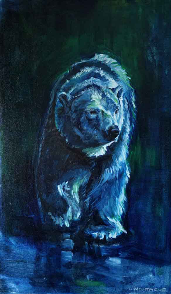 Polar Bear Dreams. On the Move. Oil Painting ©Christine Montague