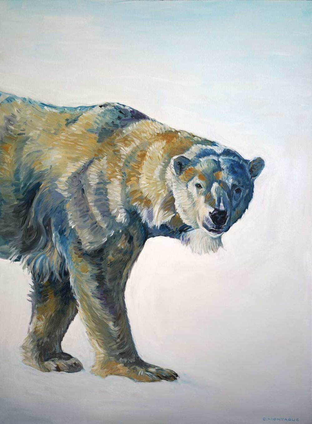 Big Bear Walking. polar bear painting ©Christine Montague