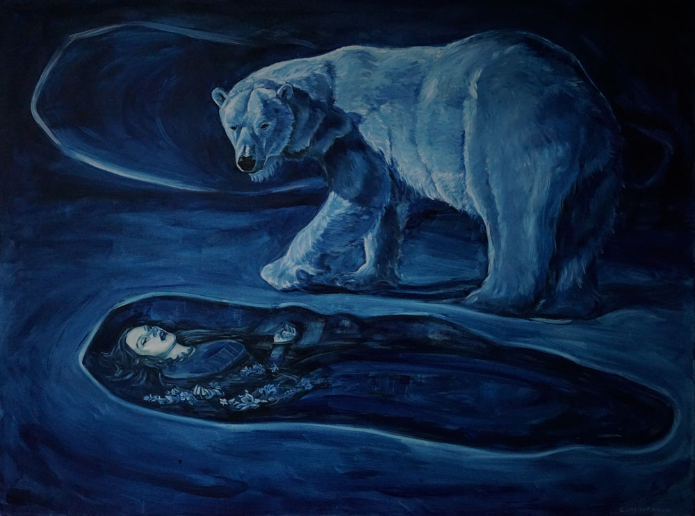Polar bear painting by Christine Montague The Premonition