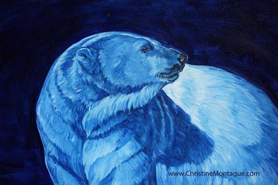 Polar bear painting copyright Christine Montague