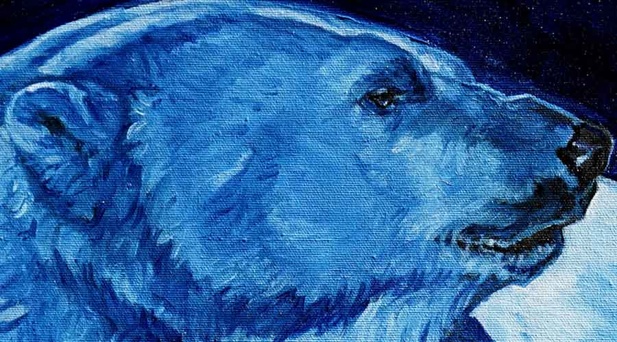 Detail. Blue Bear. Polar Bear painting copyright  Christine Montague