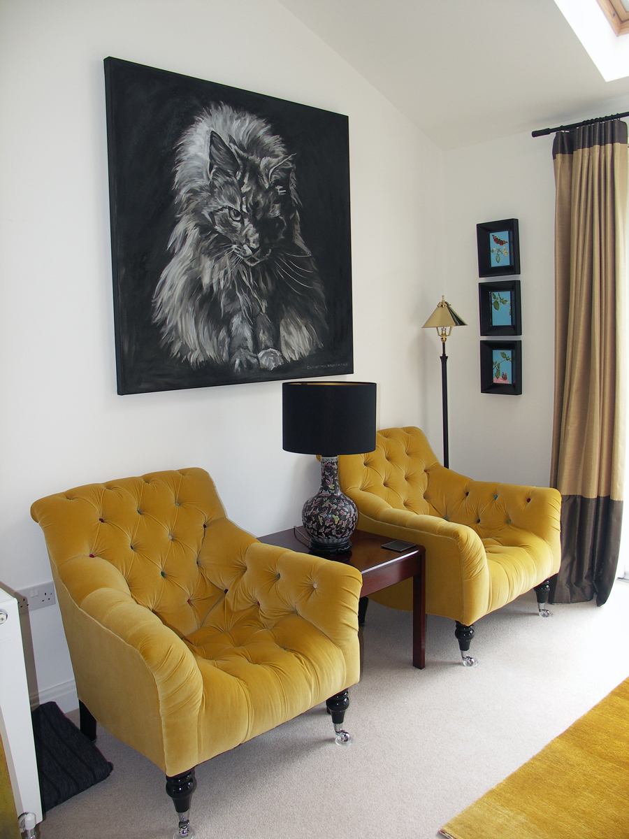 Who's for Dinner. Large scale Main Coon cat oil and oil stick painting by Christine Montague in situ at new home.