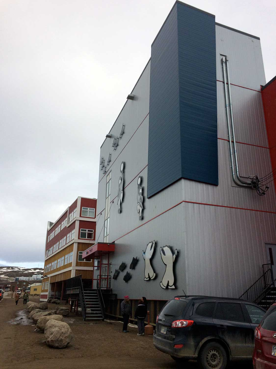 Polar on the exterior wall of new office building in Iqaluit, Nuanvut, Canada. Copyright Christine Montague 2014