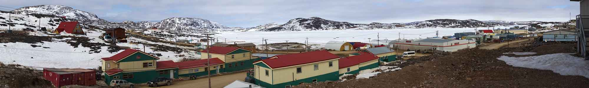 Panoramic view of Kinngait Arts and kellit bay, Cape Dorset. Photo: Christine Montague 2014