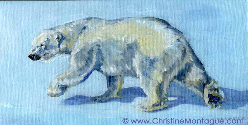 Polar bear painting by Canadian artist Christine Montague