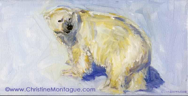 Christine Montague polar bear portrait oil paintings