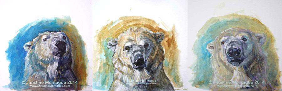 Christine Montague Fine art oil paintgs of polar bears