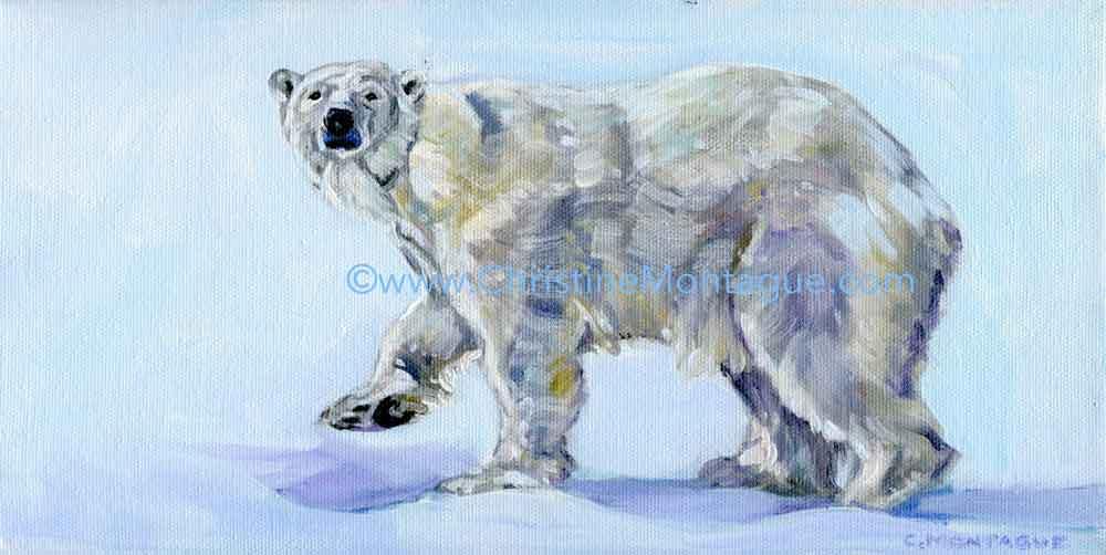 Christine Montague polar bear oil paintings, Ontario, Canada