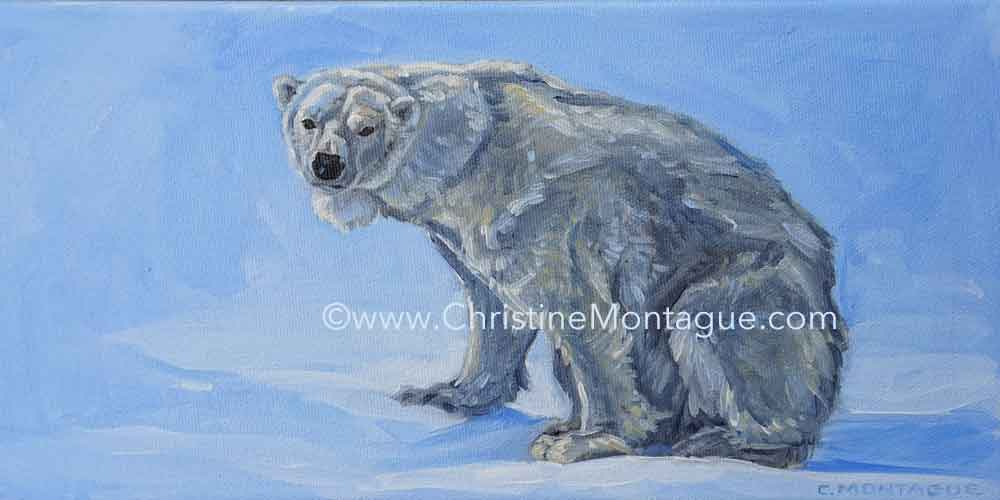 Canadian visual artist Christine Montague portraits and polar bears in oil on canvas