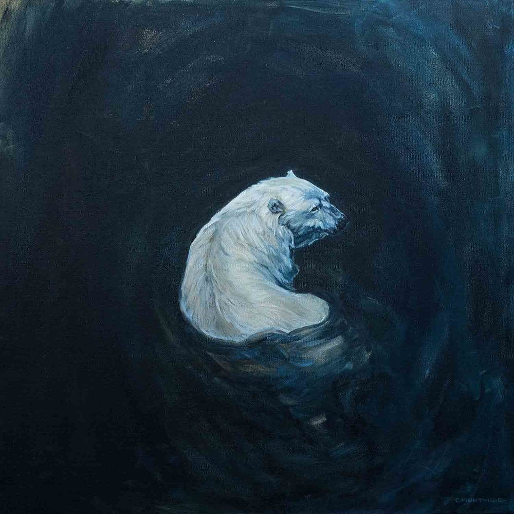 Polar Bear in Dark Water. ©Christine MontagueAvailable at Artworld Fine Art Gallery until July 20, 2017. 365 Evans Ave. Toronto, Ontario, Canada.