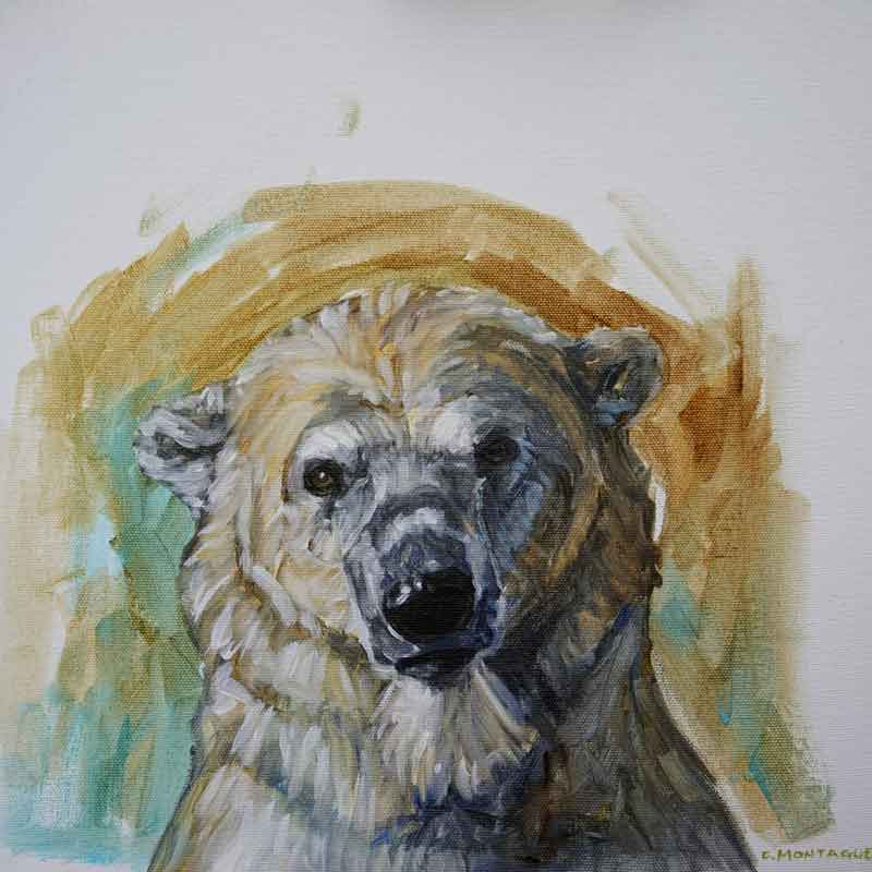 "Polar bear portrait study 1.   ©Christine Montague. Polar bear oil paintings on canvas. 12"" x 12"". Contact Christine  here ."