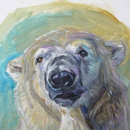 "Detail: Polar Bear Portrait 2  . (private collection). ©Christine Montague 12"" x 12"" polar bear oil painting. Please feel free to comment below or comments & inquiries are always welcome   here  ."