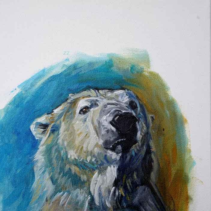 Polar Bear Portrait Study 3. ©Christine Montague (Please note that this image is slightly cropped. ) . For comments and questions about any of my art please contact me.
