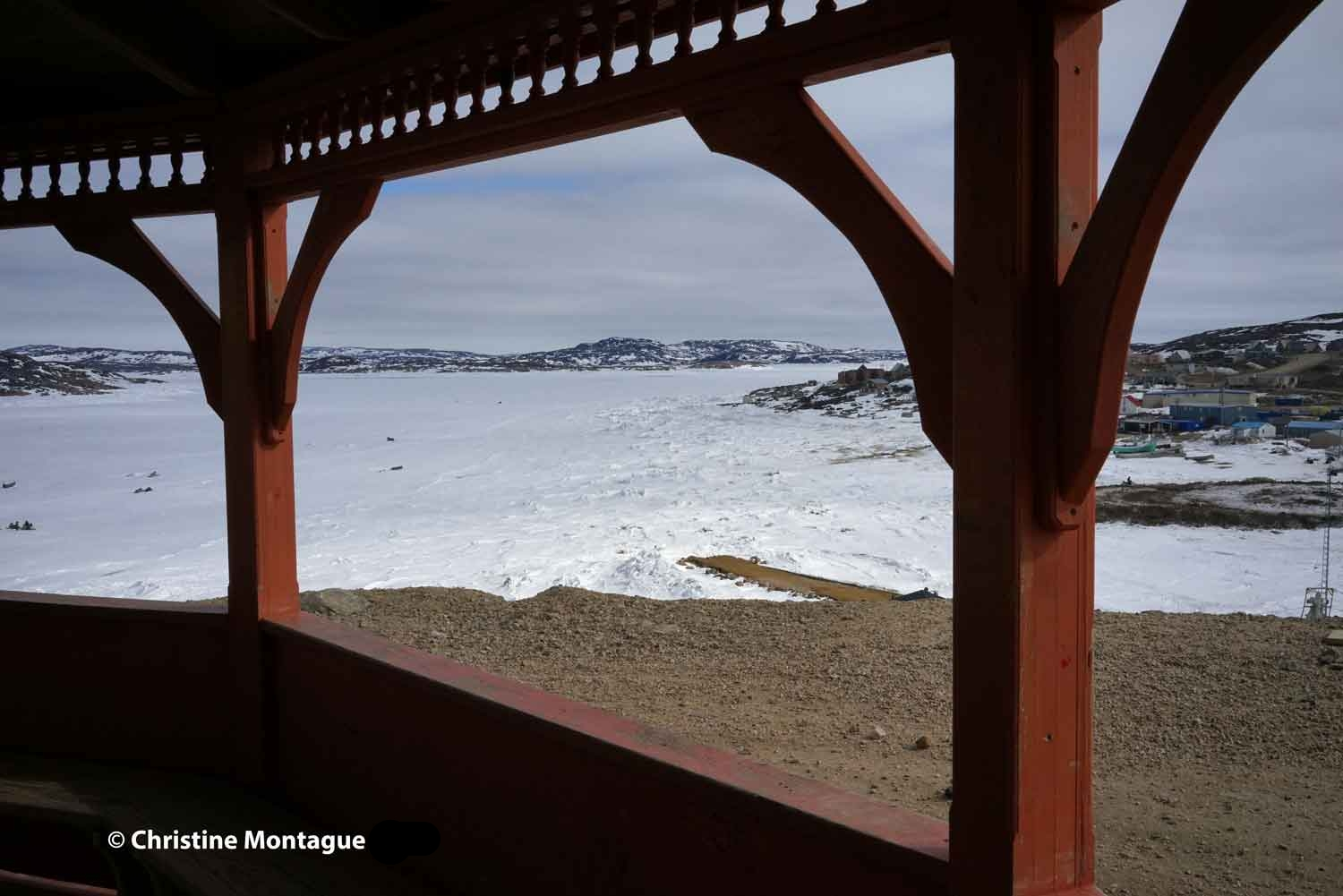 Looking down at pier on Tellik Inlet from gazebo. Photo: Christine Montague 2014