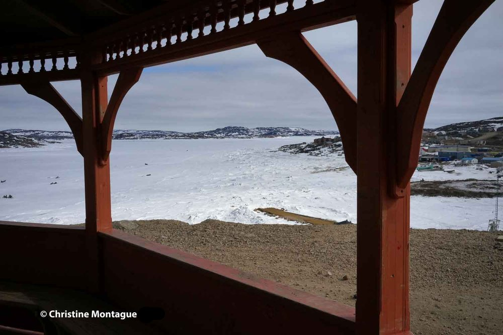 Looking down at pier on Tellik Inlet from gazebo. Photo: ©Christine Montague
