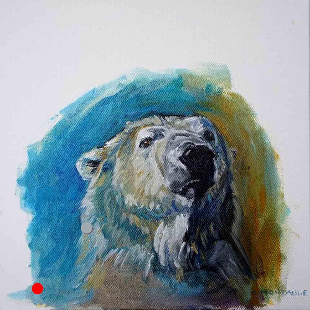 SOLD. Polar Bear Portrait- Oil Study of A Polar Bear Head 3