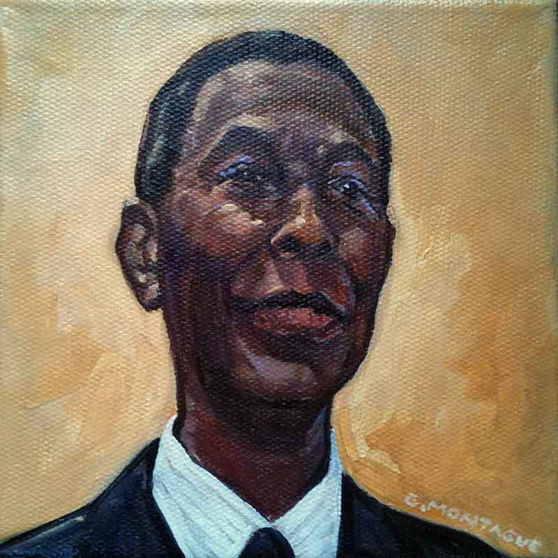 "Portrait of a community leader. 6"" x 6"". Private collection."