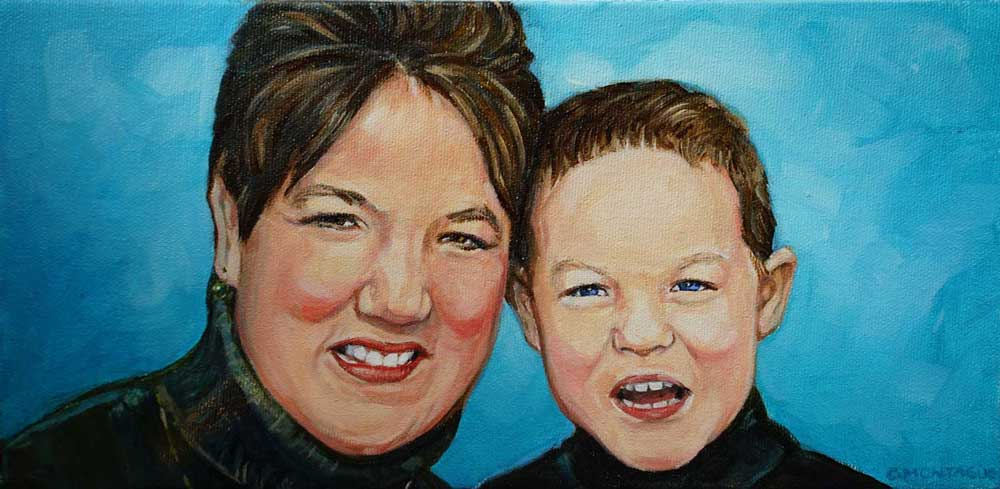 "Mother and Son. 6"" x 12"" portrait."