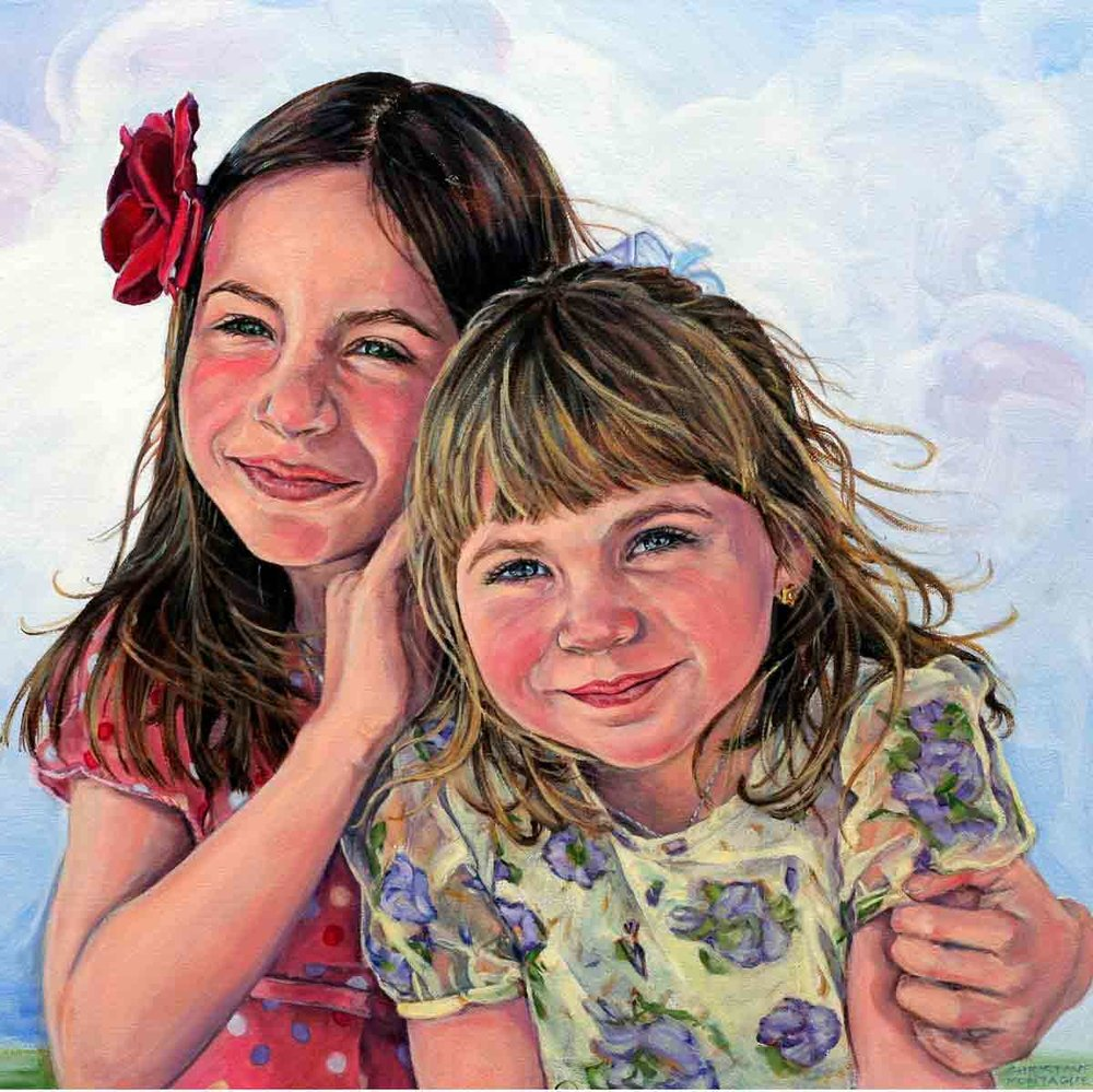 "Sisters. 18"" x 24"". Shown as square. Private collection."