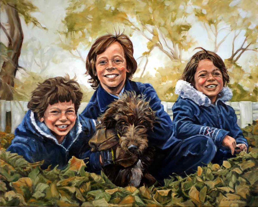"Three brothers and dog. 18"" x 24"". Oil."