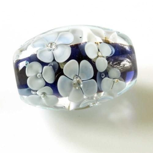 Purple floral lampwork bead