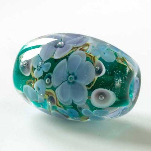 teal floral lampwork bead