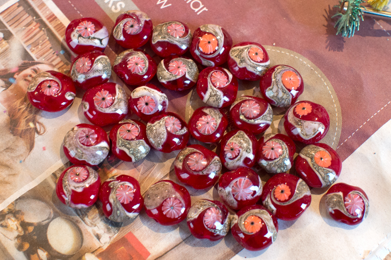 32 red lampwork glass beads