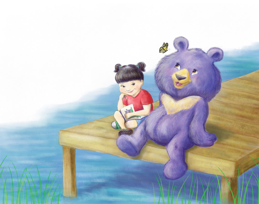 A girl and her stuffed moon bear companion enjoy a book by the dock on a summer day.  Digital