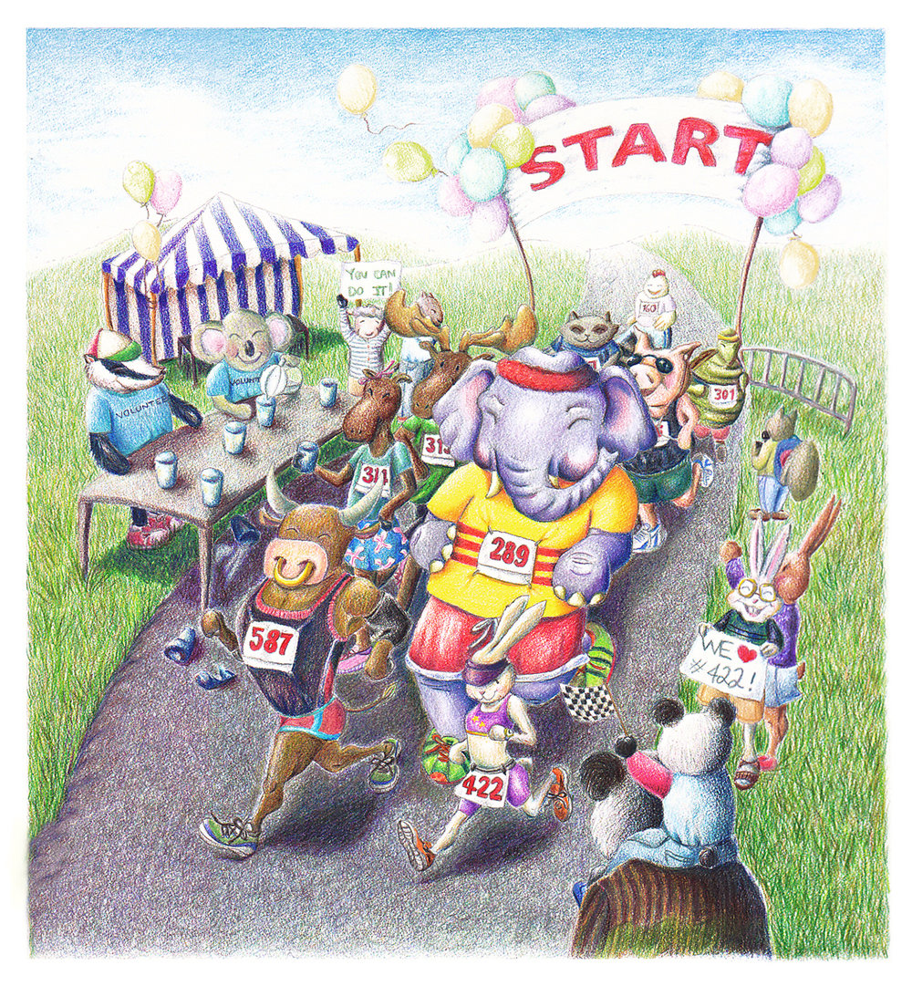 Come one, come all to the local 5K!  Colored pencils