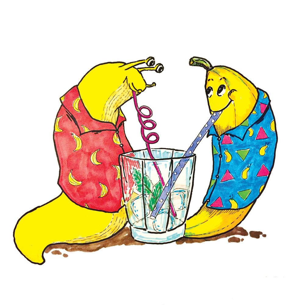 Sometimes, friendships are a little weird. (Banana slug + Banana.)  Markers
