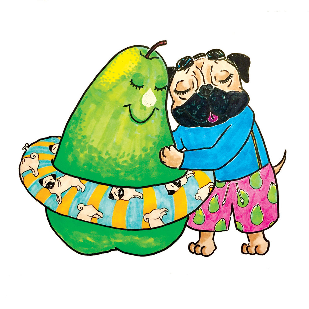 Sometimes, friendships are a little weird. (Pear + Pug.)  Markers