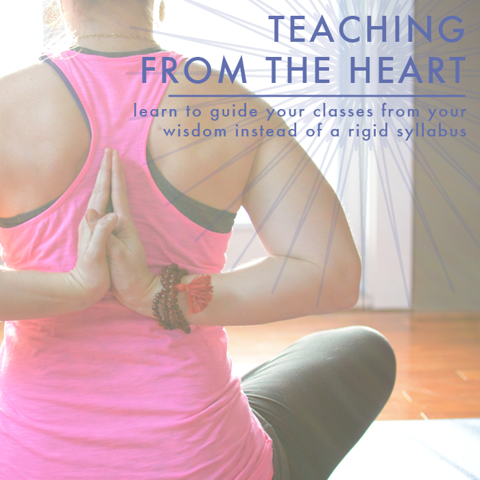 yoga instructor teaching from the heart online class
